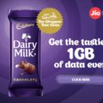 Jio Cadbury Dairy Milk free 1gb offer