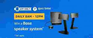 Amazon quiz 21 december win bose speaker system