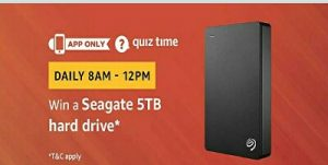 Amazon Seagate Hard Drive Quiz Answers today win Seagate 5tb hard drive