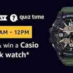 amazon casio g-shock watch quiz answers today 28 march win casio watch for free
