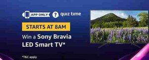 Amazon Sony Bravia LED Smart TV Quiz Answers Today Win Sony Bravia TV For Free