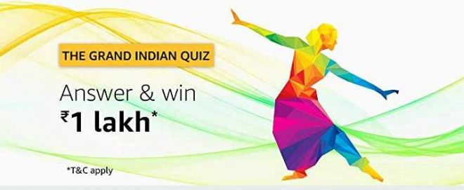 Amazon Grand Indian Quiz Answers 15 August 2019 Win Rs 1 Lakh