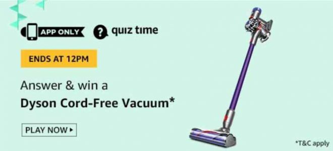Amazon Dyson Cord-free Vacuum Quiz Answers 14 September 2019