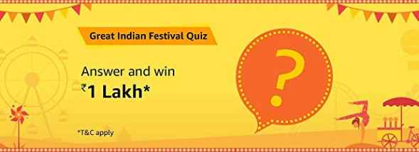 Amazon Great Indian Festival Quiz Answers Win Rs 1 Lakh Free 17-9-19