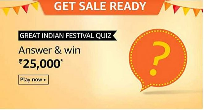 Amazon Great Indian Festival Quiz Answers Win Rs 25000 Free Today