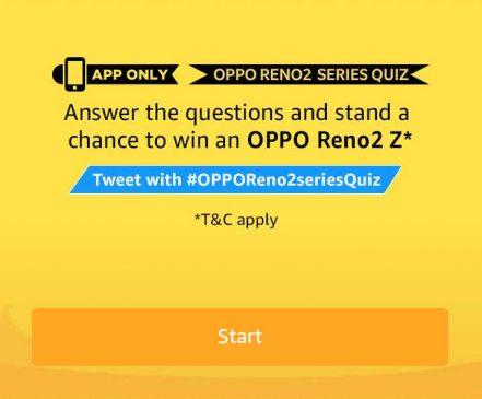 Amazon Oppo Reno2 Series Quiz 8 September 2019 ANswer Win