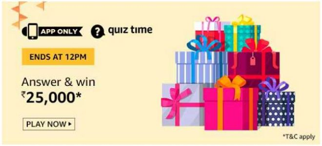 Amazon Rs 25000 Quiz Answers 12 September 2019 Win Rs 25000 Free