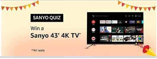Amazon sanyo quiz answers win sanyo 43 inch 4k tv free from amazon