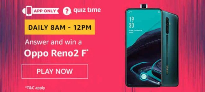 Amazon Oppo Reno2 F Quiz Answers Get Oppo Phone Free
